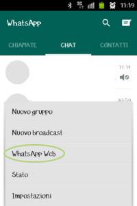 schermata mobile Web Whatsapp